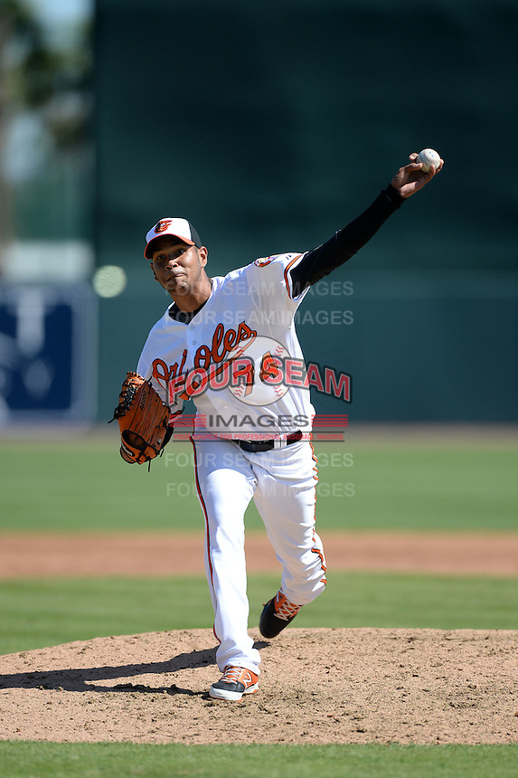 Baltimore Orioles pitcher Eduardo Rodriguez (74) during a spring training game against the Boston Red Sox on March 8, 2014 at Ed Smith Stadium in Sarasota, Florida.  Baltimore defeated Boston 7-3.  (Mike Janes/Four Seam Images)