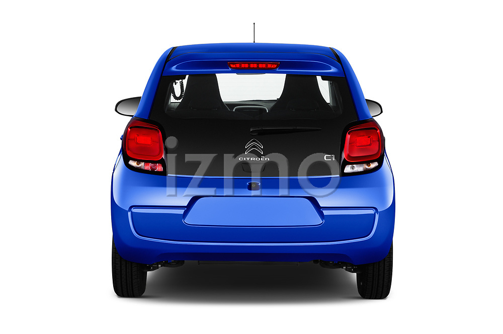 Straight rear view of a 2018 Citroen C1 Feel 5 Door Hatchback stock images