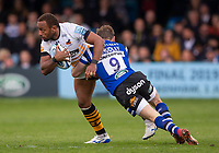 Wasps' Gaby Lovobalavu is tackled by Bath Rugby's Will Chudley<br /> <br /> Photographer Bob Bradford/CameraSport<br /> <br /> Premiership Rugby Cup - Bath Rugby v Wasps - Sunday 5th May 2019 - The Recreation Ground - Bath<br /> <br /> World Copyright © 2018 CameraSport. All rights reserved. 43 Linden Ave. Countesthorpe. Leicester. England. LE8 5PG - Tel: +44 (0) 116 277 4147 - admin@camerasport.com - www.camerasport.com