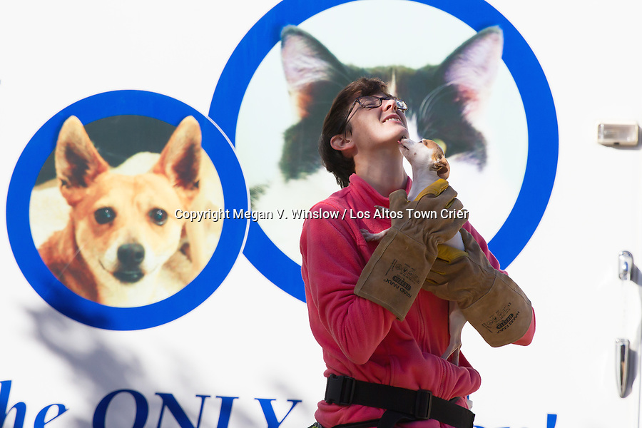 Chico showers Pets In Need Canine Trainer Ashby Cogan with kisses.