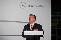 Viktor Orban prime minister of Hungary talks during an event introducing the first CLA Shooting Brake model built in the Mercedes-Benz factory in Kecskemet, (about 100 km south of Budapest), Hungary on January 20, 2015. ATTILA VOLGYI