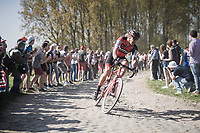 Daniel Oss (ITA/BMC) leading solo coming out of sector 11: Mons-en-P&eacute;v&egrave;le <br /> <br /> 115th Paris-Roubaix 2017 (1.UWT)<br /> One Day Race: Compi&egrave;gne &rsaquo; Roubaix (257km)