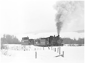 Baldwin Branch, Engine 278 with flanger and caboose 0588.<br /> D&amp;RGW  Baldwin Branch, CO  Taken by Richardson, Robert W. - 2/28/1950