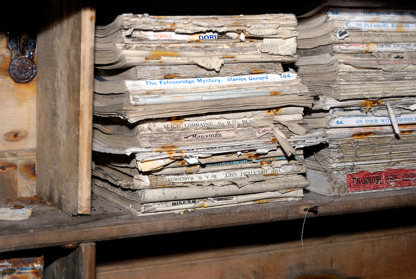 The Stacks - Abandonded in 1913 and only recently conserved.  This is some of the reading material they brought with them. This was home to 18 men for 3 years.