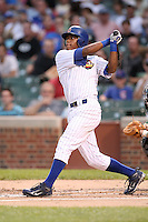 June 29, 2008: Elvis Lara (7) of the Peoria Chiefs in the first ever MiLB game played at Wrigley Field in Chicago, IL.  Photo by: Chris Proctor/Four Seam Images