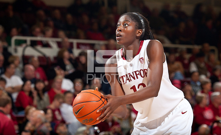STANFORD, CA - December 12, 2010: Chiney Ogwumike of the Stanford Cardinal women's basketball team during their victory over Fresno State. Stanford won 77-40.