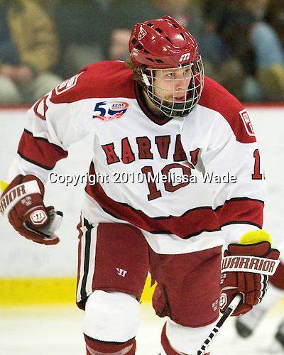 Eric Kroshus (Harvard - 10) - The visiting Merrimack College Warriors defeated the Harvard University Crimson 3-1 (EN) at Bright Hockey Center on Tuesday, November 30, 2010.