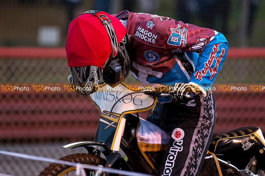 Jonas Davidsson Focused at the start line - Lakeside Hammers vs Wolverhampton Wolves - Sky Sports Elite League Speedway at Arena Essex Raceway, Purfleet - 20/07/12 - MANDATORY CREDIT: Ray Lawrence/TGSPHOTO - Self billing applies where appropriate - 0845 094 6026 - contact@tgsphoto.co.uk - NO UNPAID USE.