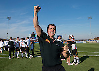Maryland head coach Sasho Cirovski celebrates with fans after the game at the Maryland SoccerPlex in Germantown, MD. Maryland defeated North Carolina, 2-1,  to win the ACC men's soccer tournament.