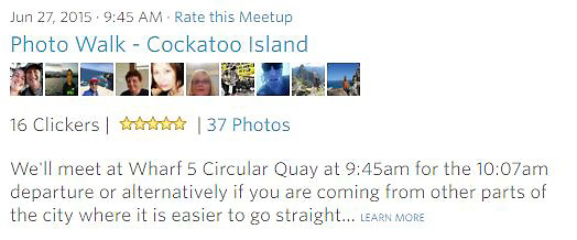 Meetup Photowalk - We'll meet at Wharf 5 Circular Quay at 9:45am for the 10:07am departure or alternatively if you are coming from other parts of the city where it is easier to go straight... LEARN MORE<br />