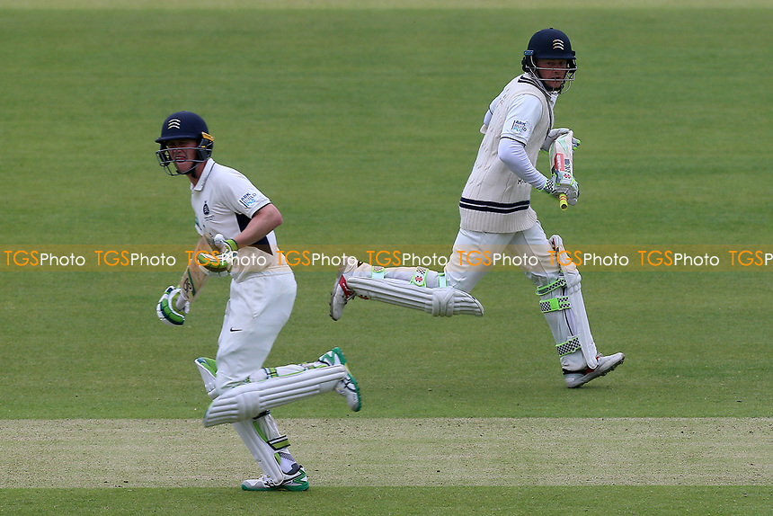 Sam Robson (R) and Nick Gubbins add to the Middlesex total during Middlesex CCC vs Essex CCC, Specsavers County Championship Division 1 Cricket at Lord's Cricket Ground on 21st April 2017