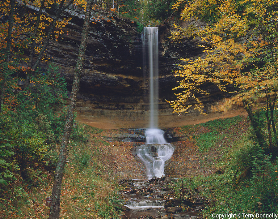 Pictured Rocks National Lakeshore, MI:  Munising Falls and autumn colored trees