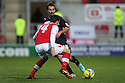 Filipe Morais of Stevenage takes on Mark Bradley of Rotherham. Rotherham United v Stevenage - FA Cup 1st Round - New York Stadium, Rotherham - 3rd November 2012. © Kevin Coleman 2012.