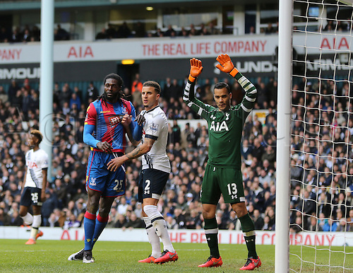 21.02.2016. White Hart Lane, London, England. Emirates FA Cup 5th Round. Tottenham Hotspur versus Crystal Palace. Emmanuel Adebayor and Kyle Walker tussle in the box as a corner comes in watched by Vorm