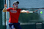 SURPRISE, AZ - MAY 12: Matei Avram of the Columbus State Cougars returns a ball against the Barry Buccaneers during the Division II Men's Tennis Championship held at the Surprise Tennis & Racquet Club on May 12, 2018 in Surprise, Arizona. (Photo by Jack Dempsey/NCAA Photos via Getty Images)