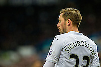 Gylfi Sigurdsson of Swansea City looks on during the Premier League match between Swansea City and Leicester City at The Liberty Stadium, Swansea, Wales, UK. Sunday 12 February 2017
