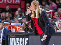 COLLEGE PARK, MD - FEBRUARY 9: Brenda Frese coach of Maryland calls out a play during a game between Rutgers and Maryland at Xfinity Center on February 9, 2020 in College Park, Maryland.