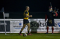 Will HARRIES of Ealing Trailfinders breaks celebrates after he scores a try during the Championship Cup match between London Scottish Football Club and Ealing Trailfinders at Richmond Athletic Ground, Richmond, United Kingdom on 23 November 2018. Photo by David Horn/PRiME Media Images