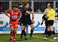 Jack Wilson of Bath Rugby celebrates his try with team-mates but the score is later ruled out. European Rugby Champions Cup match, between Bath Rugby and RC Toulon on December 16, 2017 at the Recreation Ground in Bath, England. Photo by: Patrick Khachfe / Onside Images