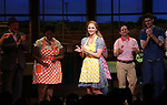 Katharine McPhee wuth cast during her Broadway Debut Curtain Call in 'Waitress' at the Brooke Atkinson Theatre on April 10, 2018 in New York City.