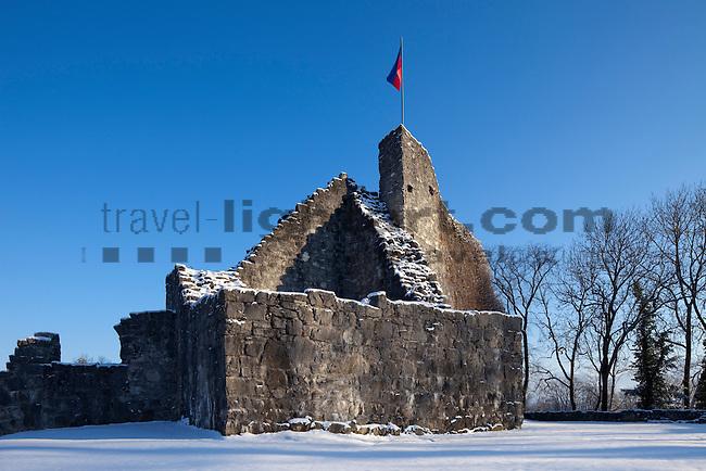 Unterland im Winter, Burg Ruine, Schellenberg, Liechtenstein