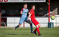 Adam Thomas of Flackwell Heath & Joel White of Tuffley Rovers during the UHLSport Hellenic Premier League match between Flackwell Heath v Tuffley Rovers at Wilks Park, Flackwell Heath, England on 20 April 2019. Photo by Andy Rowland.