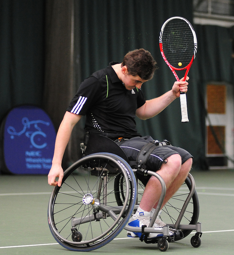 Josh Steels (GBR) [1] celebrates his win against Rutger Bakker (NED) in their Men's Main Draw Consolidation semi final match..Tennis - ITF Nottingham Indoor Wheelchair Tennis Tournament - Saturday 27th October 2012 - Nottingham Tennis Centre - Nottingham..©Tennis Foundation/James Jordan..www.tennisfoundation.org.uk.info@tennisfoundation.org.uk