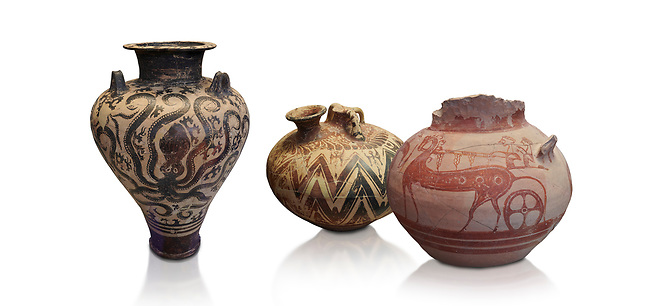 Mycenaean pots and vases depicting octopuses and Mycenaean chariots, National Archaeological Museum Athens.<br /> <br /> Left: Three handled Palace Style Mycenaean amphora with octpuses and marinescape decorations motifs, Mycenaean cemetery, Argive Prosymna, tomb 2, 15 cnt BC,  Cat no 6725. <br /> <br /> Middle: Mycenaean three handled styrup jar with painted zig zag  and double axesdesigns, Tholos tomb 2 , Myrsinochori, Messenia, 15th cent BC. Cat No 8376.<br /> <br /> Right:Mycenaean pictorial Krater decorated with a horse and chariot, Tiryns Acropolis - 12-14th cent BC.  Cat No 115.