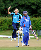 Scotland V Afghanistan, One Day International, at New Cambusdoon, Ayr - early success for Scotland with Matthew Parker removing the middle stump of Afghan batsman Mohammed Shazad, for 11 in the 4th over - Picture by Donald MacLeod 17.08.10 - mobile 07702 319 738 - clanmacleod@btinternet.com