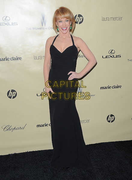 Kathy Griffin.The Weinstein Company's 2013 Golden Globe After Party held at The Old trader vic's at The Beverly Hilton Hotel in Beverly Hills, California, USA..January 13th, 2013        .globes full length dress hand on hip black halterneck mouth open smiling .CAP/RKE/DVS.©DVS/RockinExposures/Capital Pictures.