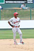 Darius Day (1) of the Spokane Indians stands on second base during a game against the Everett AquaSox at Everett Memorial Stadium on July 24, 2015 in Everett, Washington. Everett defeated Spokane, 8-6. (Larry Goren/Four Seam Images)