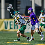 6 April 2019:  University of Vermont Catamount Midfielder Thomas McConvey, a Freshman from Toronto, Ontario, in action against the University at Albany Great Danes on Virtue Field in Burlington, Vermont. The Cats rallied to defeat the Danes 10-9 in America East divisional play. Mandatory Credit: Ed Wolfstein Photo *** RAW (NEF) Image File Available ***