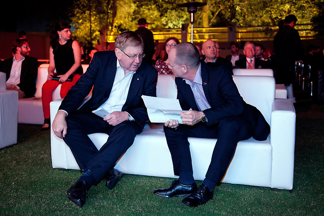 2 December 2012, Mundra, Gujurat, INDIA:  Queensland Premier Campbell Newman and Federal Minister for Resources and Energy, Martin Ferguson with guests at  Indian businessman Gautam Adani's home on a visit to Gujurat. Guests were treated to a performance of Queensland orchestra act Deep Blue at a private concert at the home of Mr. Adani. Deep Blue are in India as part of Oz Fest.   Picture by Graham Couch/DFAT