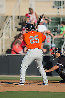 Skyler Ewing (25) of the Augusta GreenJackets at bat against the Kannapolis Intimidators at Intimidators Stadium on May 30, 2016 in Kannapolis, North Carolina.  The GreenJackets defeated the Intimidators 5-3.  (Brian Westerholt/Four Seam Images)