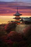 Sanjunoto pagoda, Sanju-no-to, with dramatic red yellow sunset skies, colorful autumn scenery. Kiyomizu-dera Buddhist temple, Higashiyama, Kyoto, Japan 2017.