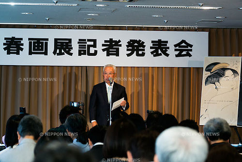 Masakatsu Asaki, CEO of Marueido, chairman of Tokyo Art Club and president of Shunga in Japan LPP speaks to the audience during a press conference to promote ''Shunga'', an exhibition of Japanese erotic art, at the Foreign Correspondents Club of Japan on May 21, 2015, Tokyo, Japan. The exhibition is organized with the collaboration of museums in Japan, Britain and other European countries, and showcases 120 shunga paintings which will be displayed together for the first time. Shunga is a Japanese erotic art, which was produced between 1600 and 1900, and continues to influence manga, anime and Japanese tattoo art. The actual exhibition will be held from September 19th to December 23rd at the Eisei-Bunko Museum. (Photo by Rodrigo Reyes Marin/AFLO)