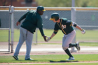 Oakland Athletics right fielder Anthony Churlin (8) during a Minor League Spring Training game against the Chicago Cubs at Sloan Park on March 19, 2018 in Mesa, Arizona. (Zachary Lucy/Four Seam Images)