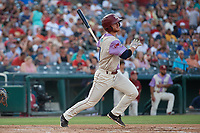 Frisco RoughRiders Ryan Dorow (21) bats during a Texas League game against the Amarillo Sod Poodles on July 13, 2019 at Dr Pepper Ballpark in Frisco, Texas.  (Mike Augustin/Four Seam Images)
