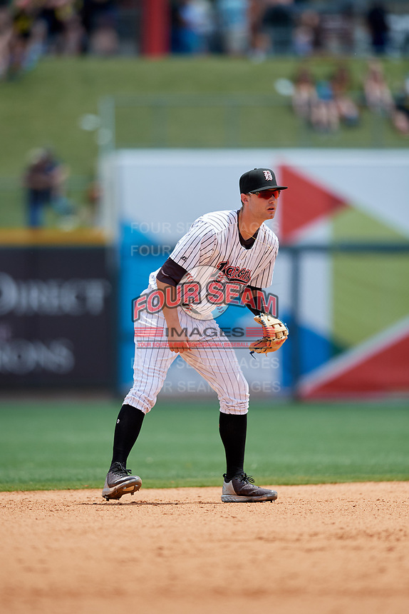 Birmingham Barons third baseman Matt Rose (22) during a game against the Pensacola Blue Wahoos on May 9, 2018 at Regions FIeld in Birmingham, Alabama.  Birmingham defeated Pensacola 16-3.  (Mike Janes/Four Seam Images)