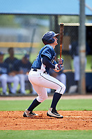 GCL Rays right fielder Jake Stone (8) hits a home run during the first game of a doubleheader against the GCL Twins on July 18, 2017 at Charlotte Sports Park in Port Charlotte, Florida.  GCL Twins defeated the GCL Rays 11-5 in a continuation of a game that was suspended on July 17th at CenturyLink Sports Complex in Fort Myers, Florida due to inclement weather.  (Mike Janes/Four Seam Images)