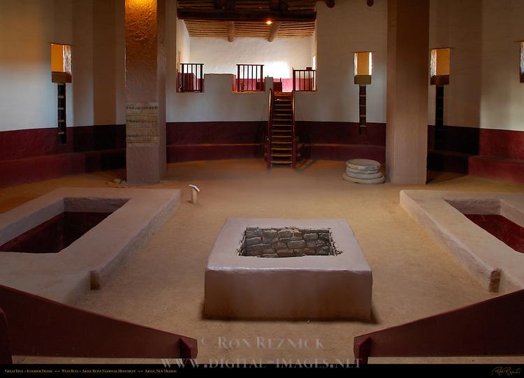 Great Kiva Interior Detail, West Ruin Anasazi Hisatsinom Chacoan Complex, Aztec Ruins National Monument, Aztec, New Mexico