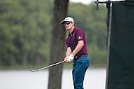 Gainesville, VA - August 2, 2015:    Justin Leonard chip shot on hole 12  at the Robert Trent Jones Golf Club in Gainesville, VA. August 2, 2015.  (Photo by Elliott Brown/Media Images International)