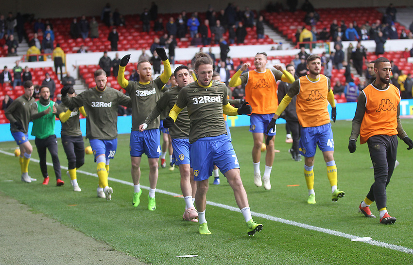 Leeds United's players warm up<br /> <br /> Photographer Mick Walker/CameraSport<br /> <br /> The EFL Sky Bet Championship - Nottingham Forest v Leeds United - Tuesday 1st January 2019 - The City Ground - Nottingham<br /> <br /> World Copyright © 2019 CameraSport. All rights reserved. 43 Linden Ave. Countesthorpe. Leicester. England. LE8 5PG - Tel: +44 (0) 116 277 4147 - admin@camerasport.com - www.camerasport.com