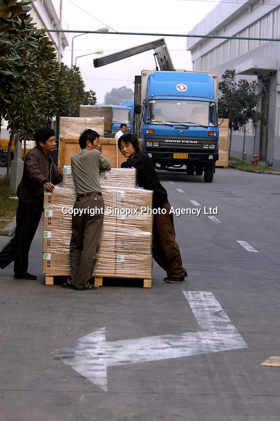 Goods ready for shipment at a privately owned metal works factory, producing parts for major foreign companies including Fuji Xerox, Panasonic, Black & Decker and DeWalt, both for Chinese market and for export (including UK , US and Japan).