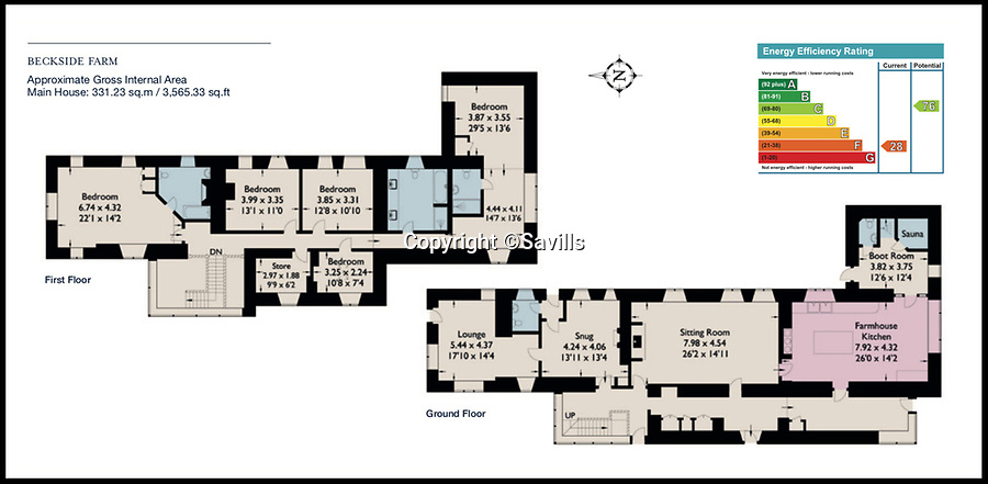 BNPS.co.uk (01202)558833<br /> Pic:    Savills/BNPS<br /> <br /> Floor plan of the main house.<br /> <br /> A country estate that has its own farm, tea rooms and glamping business in the heart of the Lake District has gone on market for those looking to escape the rat race.<br /> <br /> Backside Farm sits on the banks of Ullswater - the second largest lake in the Cumbrian National Park - and has one mile of water access as well as stunning views of the mountains. <br /> <br /> The outgoing owners have been on the 195 acre estate for over a decade and in that time they have renovated the large five bedroom farmhouse.<br /> <br /> They also set up the tea rooms and two holiday rental cabins and have established them as a business.