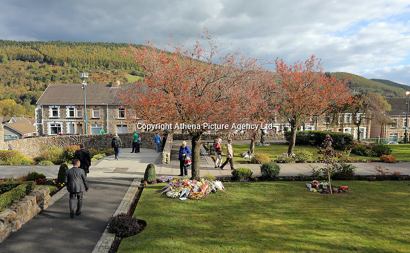 Pictured: The Memorial Garden Friday 21 October 2016<br />Re: Wales has fallen silent as the country remembered the Aberfan disaster 50 years ago.<br />On 21 October 1966, a mountain of coal waste slid down into a school and houses in the Welsh village, killing 144 people, including 116 children.<br />A day of events to commemorate the disaster included a service at Aberfan Cemetery at 9:15am on Friday.<br />Prince Charles is visiting Aberfan memorial garden before unveiling a plaque in memory of the victims.<br />He will also attend a reception with the families of some of those who lost their lives, before signing a book of remembrance.