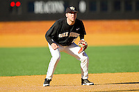 Wake Forest Demon Deacons third baseman Mark Rhine #2 on defense against the Maryland Terrapins at Wake Forest Baseball Park on March 10, 2012 in Winston-Salem, North Carolina.  (Brian Westerholt/Sports On Film)