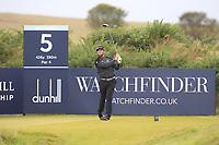 Jon Rahm (ESP) on the 5th tee during Round 2 of the Alfred Dunhill Links Championship 2019 at Kingbarns Golf CLub, Fife, Scotland. 27/09/2019.<br /> Picture Thos Caffrey / Golffile.ie<br /> <br /> All photo usage must carry mandatory copyright credit (© Golffile | Thos Caffrey)