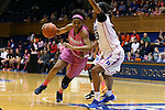 04 February 2016: Virginia's Mone Jones (32) and Duke's Oderah Chidom (right). The Duke University Blue Devils hosted the University of Virginia Cavaliers at Cameron Indoor Stadium in Durham, North Carolina in a 2015-16 NCAA Division I Women's Basketball game. Both teams wore pink as part of the annual Play4Kay game in support of the Kay Yow Cancer Fund. Duke won the game 67-52.