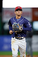 Binghamton Rumble Ponies shortstop Andres Gimenez (2) jogs back to the dugout during a game against the Portland Sea Dogs on August 31, 2018 at NYSEG Stadium in Binghamton, New York.  Portland defeated Binghamton 4-1.  (Mike Janes/Four Seam Images)